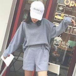 Cloud Nine - Set: Drop Shoulder Pullover + Plain Shorts