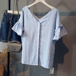 芷蓯夕 - 條紋V領短袖上衣