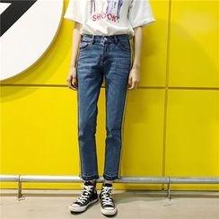 Suyisoda - 配色边直腿牛仔裤