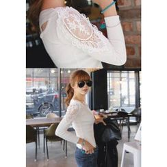 REDOPIN - Lace-Trim Rib-Knit Top