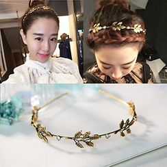 HINKIMI - Leaf Rhinestone Hair Band