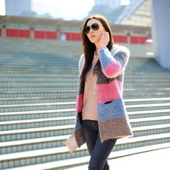 SO Central - Color-Block Open-Front Furry Cardigan