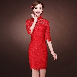 Jinfuna - Elbow-Sleeve Lace Cheongsam