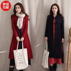 Diosa - Stand Collar Long Woolen Coat