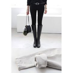 Miamasvin - Brushed-Fleece Lined Skinny Pants