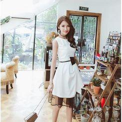 Tang House - Mesh Trim Asymmetric Hem Sleeveless Dress