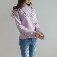 JUSTONE - Scallop-Edge Flower-Embroidered Knit Top