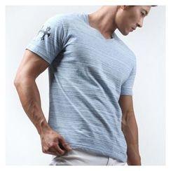 Green Banana - V-Neck Short-Sleeve Mélange Slim-Fit T-Shirt