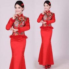 Bridal Workshop - 2 Pieces Wedding Cheongsam Set: Top + Skirt