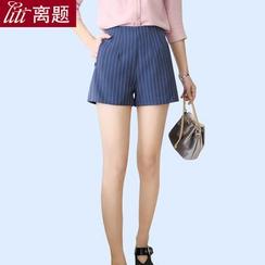 LITI - 條紋寬腿短褲