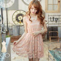 Tokyo Fashion - Sleeveless Gathered-Waist Lace Dress