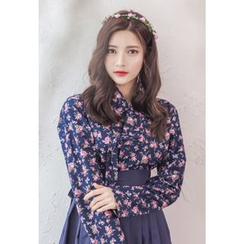 Dalkong - Set: Rose Print Hanbok Top + Skirt