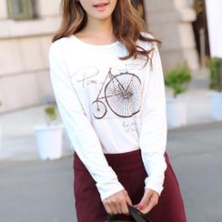 CLICK - Bicycle Print Long-Sleeved T-Shirt