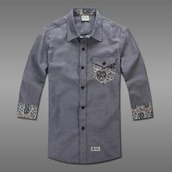 MR.PARK - Patterned-Trim Shirt