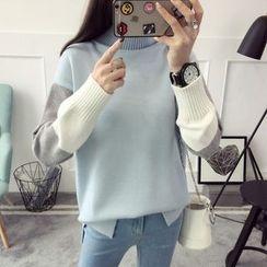 Qimi - Color Block Turtleneck Sweater