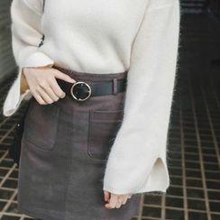 mimi&didi - Dual-Pocket Mini Skirt with Belt