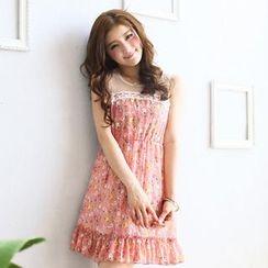 Tokyo Fashion - Sleeveless Tulle-Panel Floral Dress