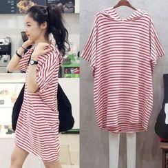 Oaksa - Hooded Stripe T-Shirt Dress