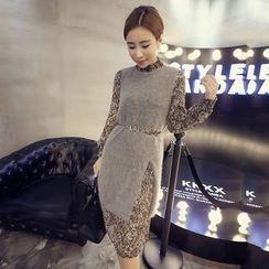 ANGELA - Set: Long-Sleeve Dress + Woolen Long Vest