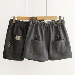 白金天使 - 貓刺繡寬腿短褲
