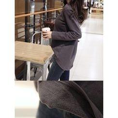 hellopeco - Round-Neck Brushed Fleece T-Shirt