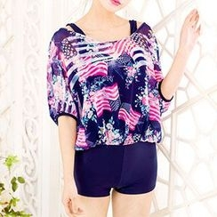 Little Dolphin - Printed Short-Sleeve Swimsuit