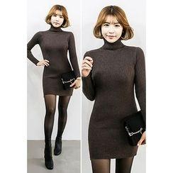 INSTYLEFIT - Turtle-Neck Mini Bodycon Dress