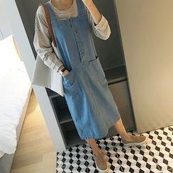 STYLEBYYAM - Buttoned-Front Denim Jumper Dress