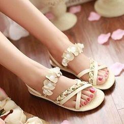 Shoes Galore - Flower Accent Braid Strap Sandals