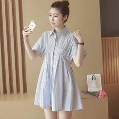 沐乃衣 - 條紋A字襯衫裙