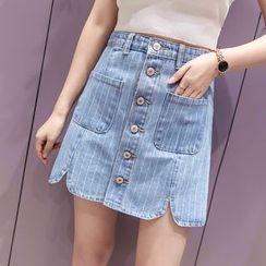 Lemon Bliss - Button Down Striped Denim Skirt