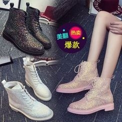 Yoflap - Glittered Lace Up Ankle Boots