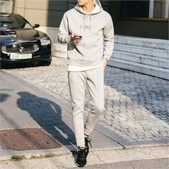 STYLEMAN - Set: Long-Sleeve Hoodie + Drawstring-Waist Sweat Pants