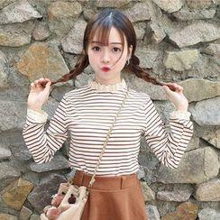Big Cat - Lace Trim Striped Long Sleeve T-Shirt