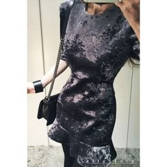ATTYSTORY - Elbow-Sleeve Velvet Mini Dress