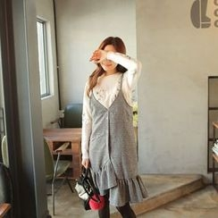 Cherryville - Houndstooth Frilled Pinafore Dress