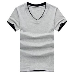 Evzen - Contrast Trim V-Neck T-Shirt