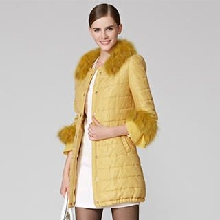 O.SA - 3/4-Sleeve Faux-Fur-Collar Padded Coat