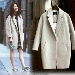 lilygirl - Notched Lapel Oversized Coat