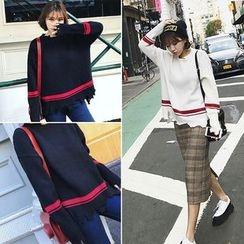 Moon City - Distressed Stripe Sweater