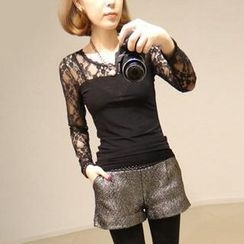 Pink Rabbit - Long-Sleeve Lace Panel Top