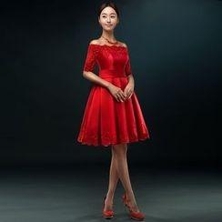 皇家尚品 - 蕾絲貼布露肩A字禮服裙