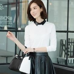 QIWI - Long-Sleeve Faux-Leather Collar Top