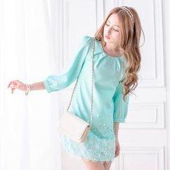 Tokyo Fashion - Puff-Sleeve Beaded Lace Trim Dress