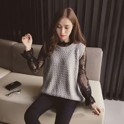 Cocofield - Set: Lace Long-Sleeve Top + Slit Back Knit Vest