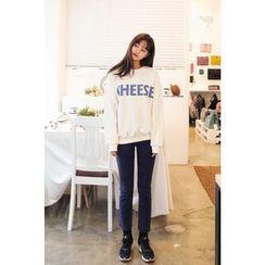 CHERRYKOKO - Lettering Brushed-Fleece Lined Sweatshirt