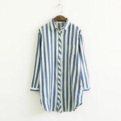 兰芝 - 宽松条纹衬衫