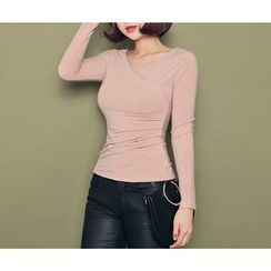 HOTPING - Wrap-Front Shirred Top