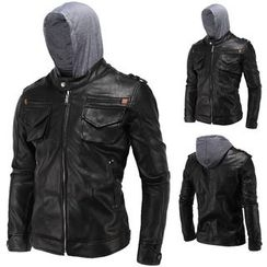 Constein - Hooded Faux Leather Jacket
