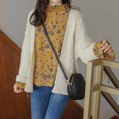 JUSTONE - Open-Front Cable-Knit Cardigan